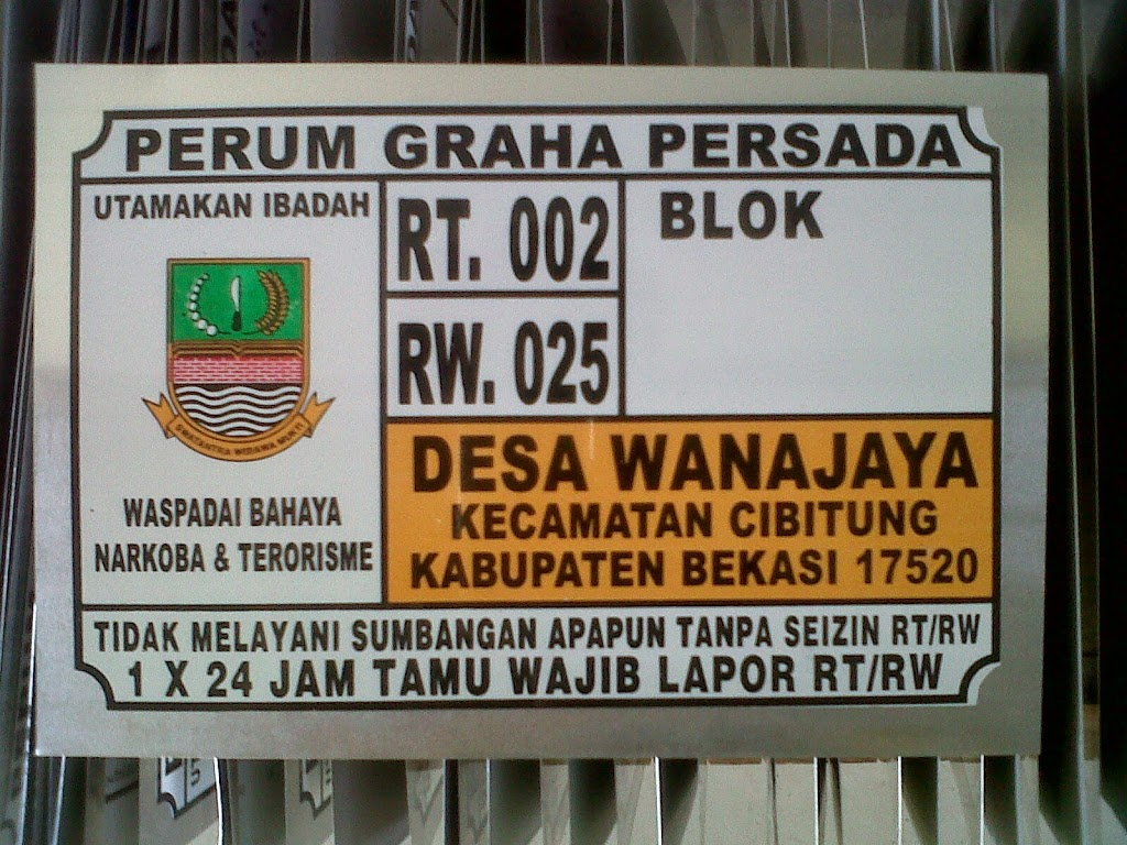 LAYANAN JASA CETAK NOMOR RUMAH TERMURAH DI Palangkaraya Kalimantan Tengah Kalimantan